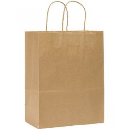 NATURAL KRAFT SHOPPING BAG 8x4.75x10.5x4.75 / 250PCS