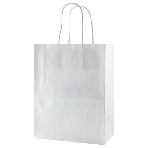 WHITE GLOSS COATED SHOPPING BAGS