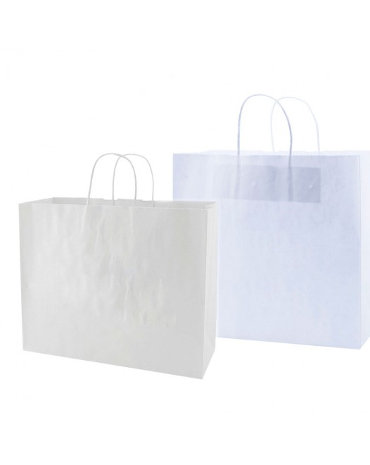 WHITE KRAFT SHOPPING BAGS